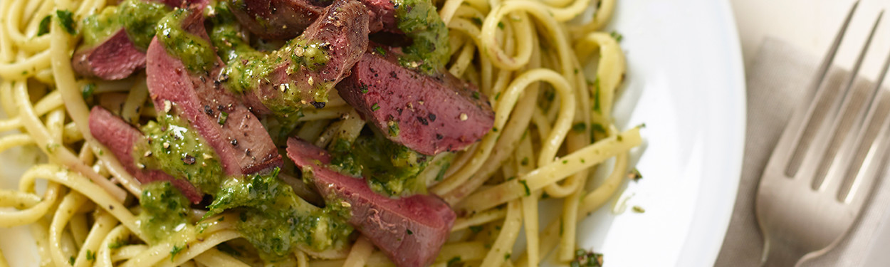 Pan Fried Wood Pigeon Fillet with Pesto and linguine